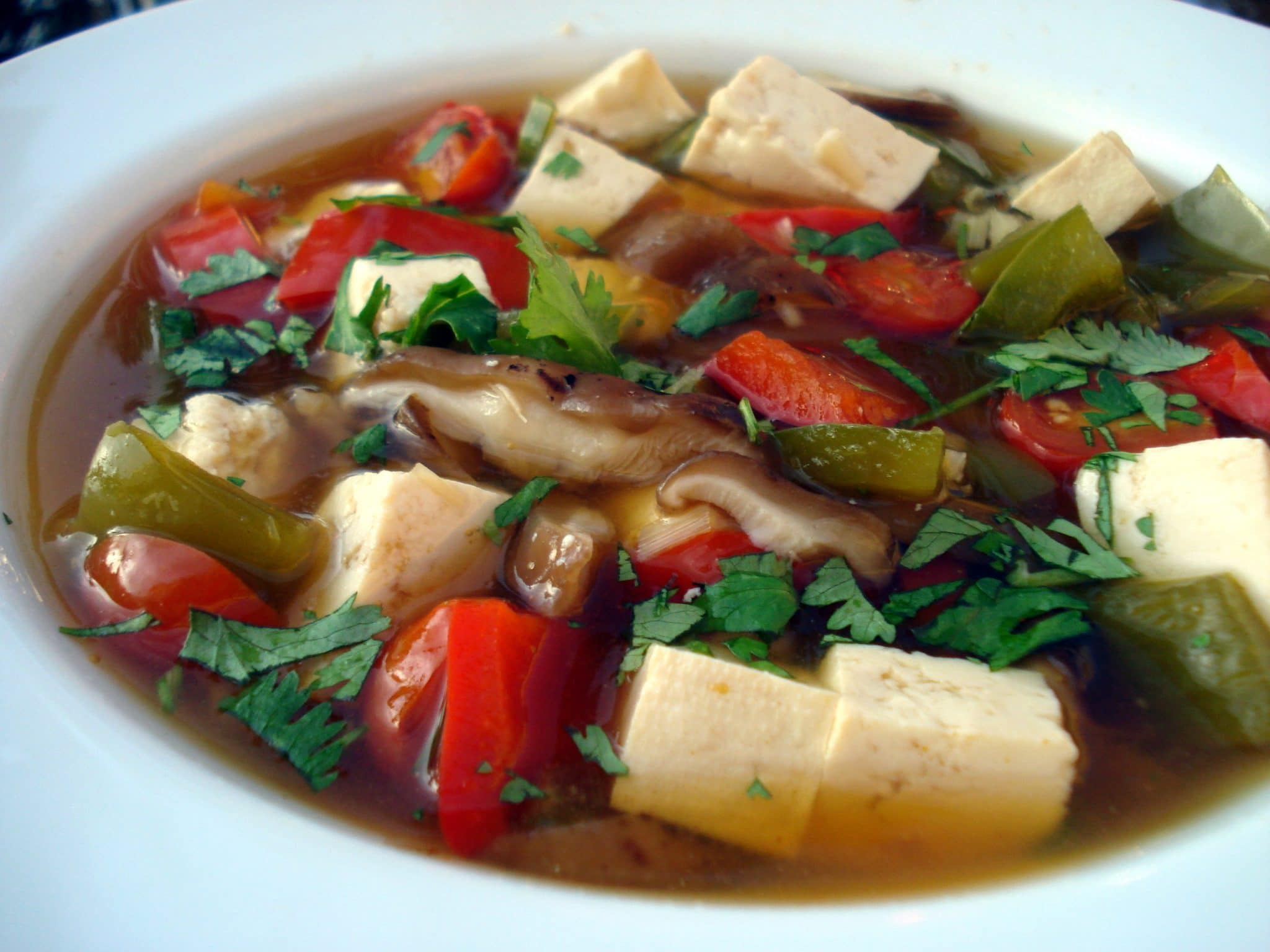 Thai lemongrass soup with tofu and mushrooms