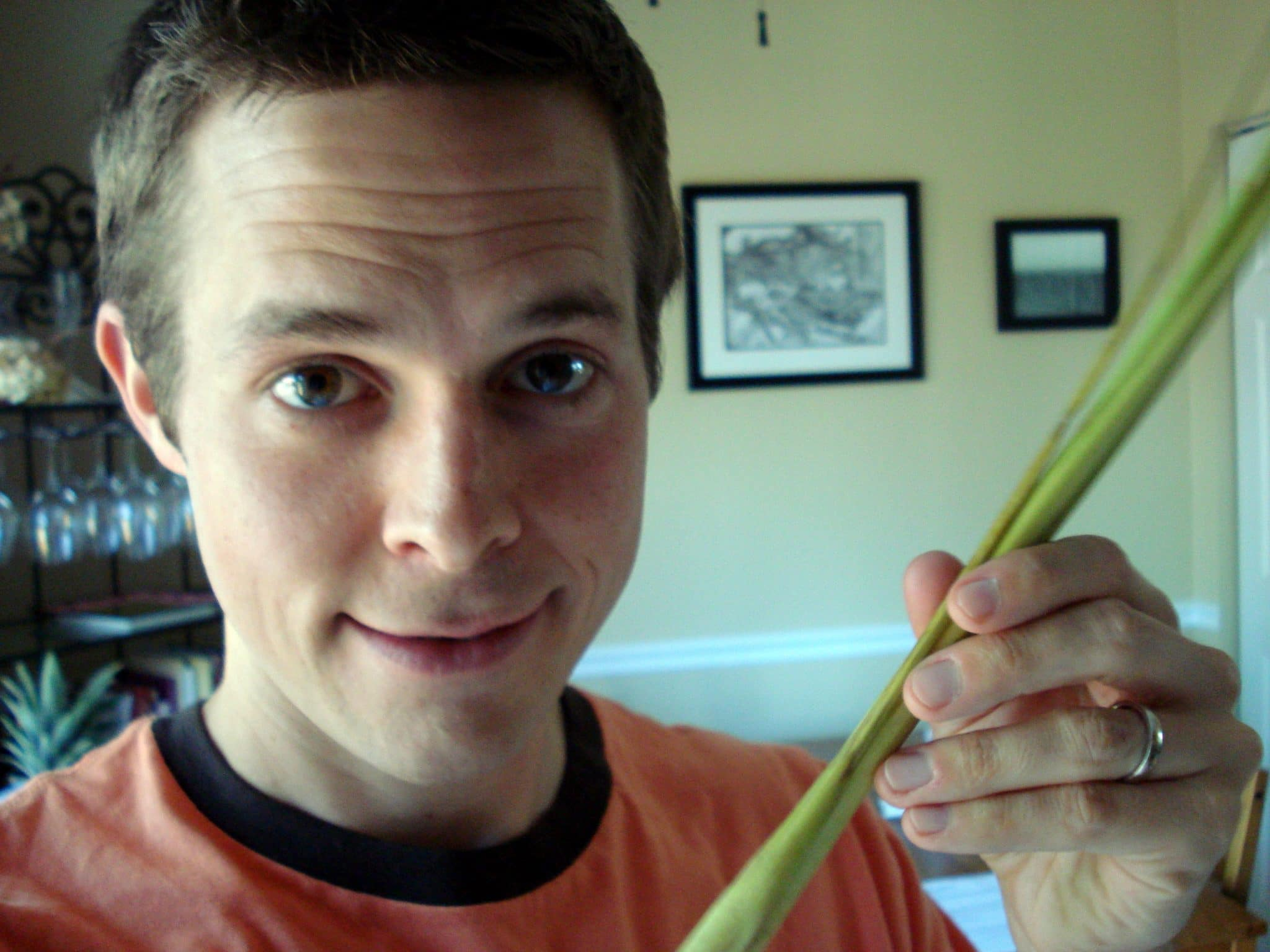 Matt holding raw lemongrass