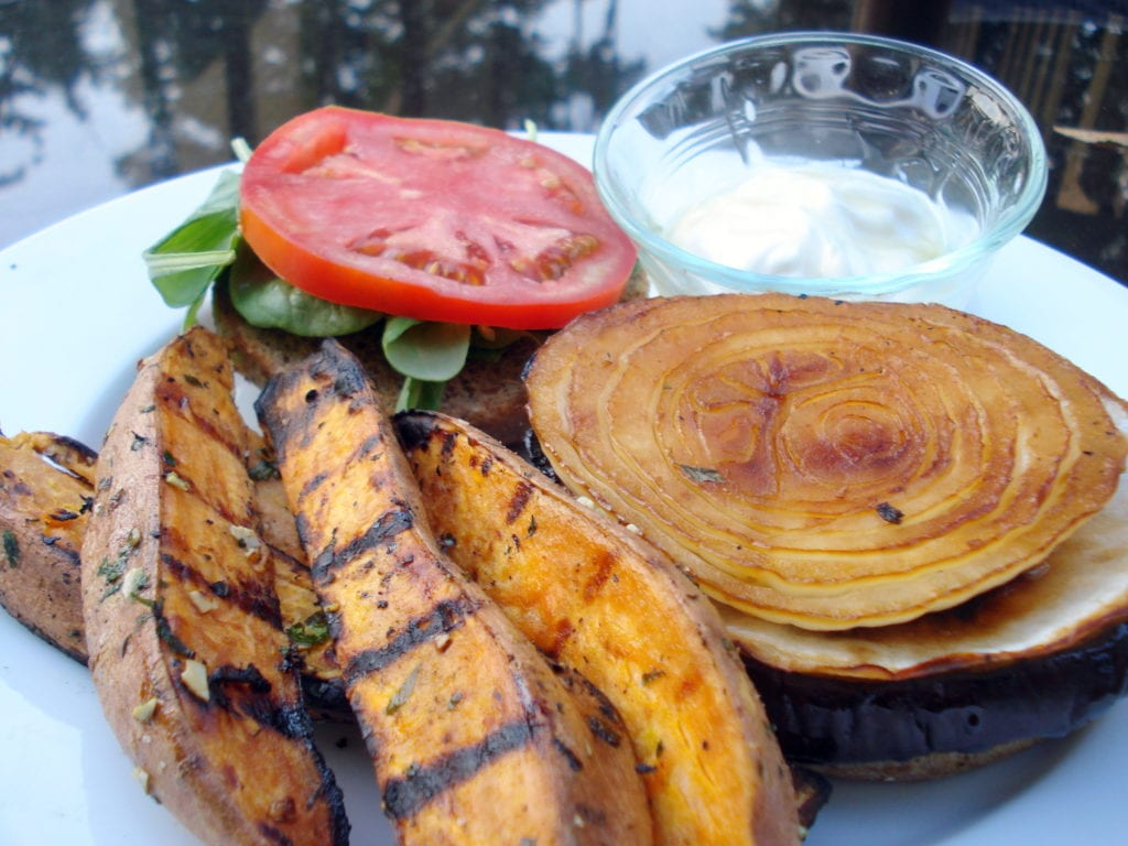 [grilled sweet potato fries photo]