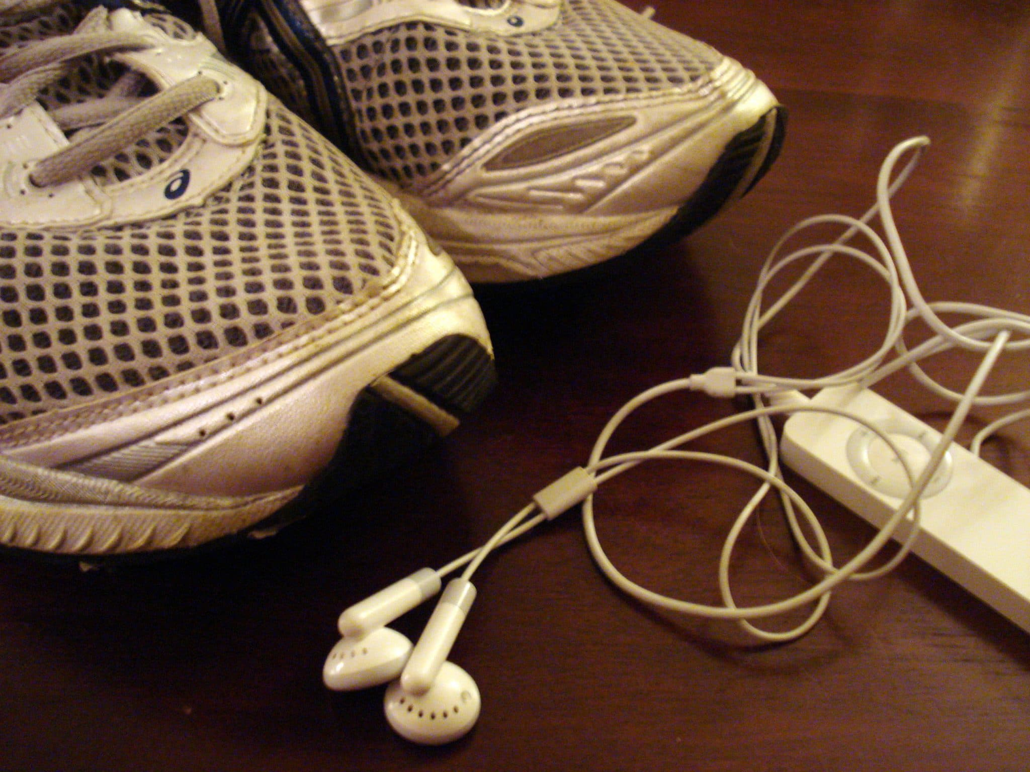 Running shoes and iPod in floor