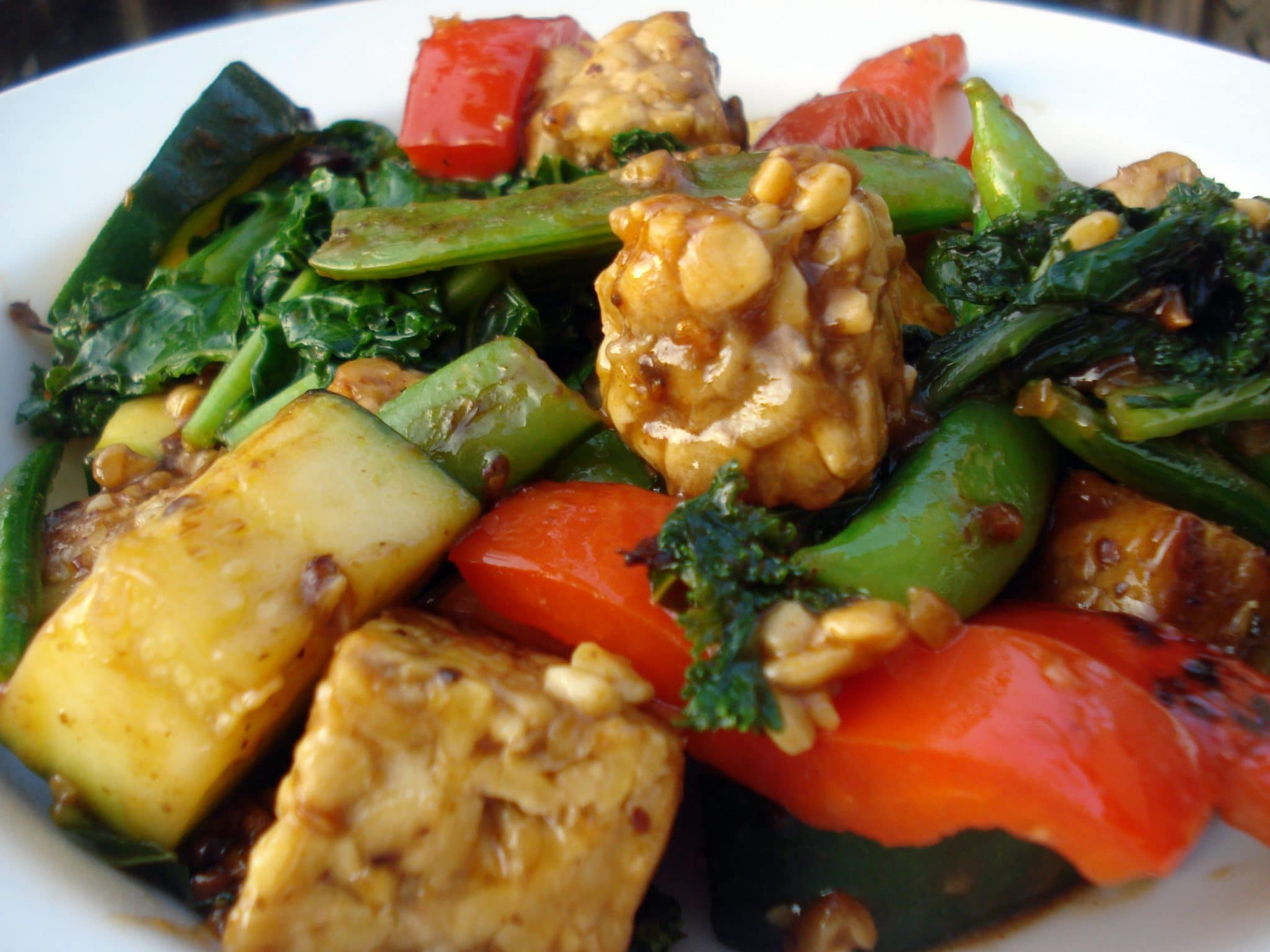 Close up of Tempeh Stir-Fry with Black Bean Sauce Recipe