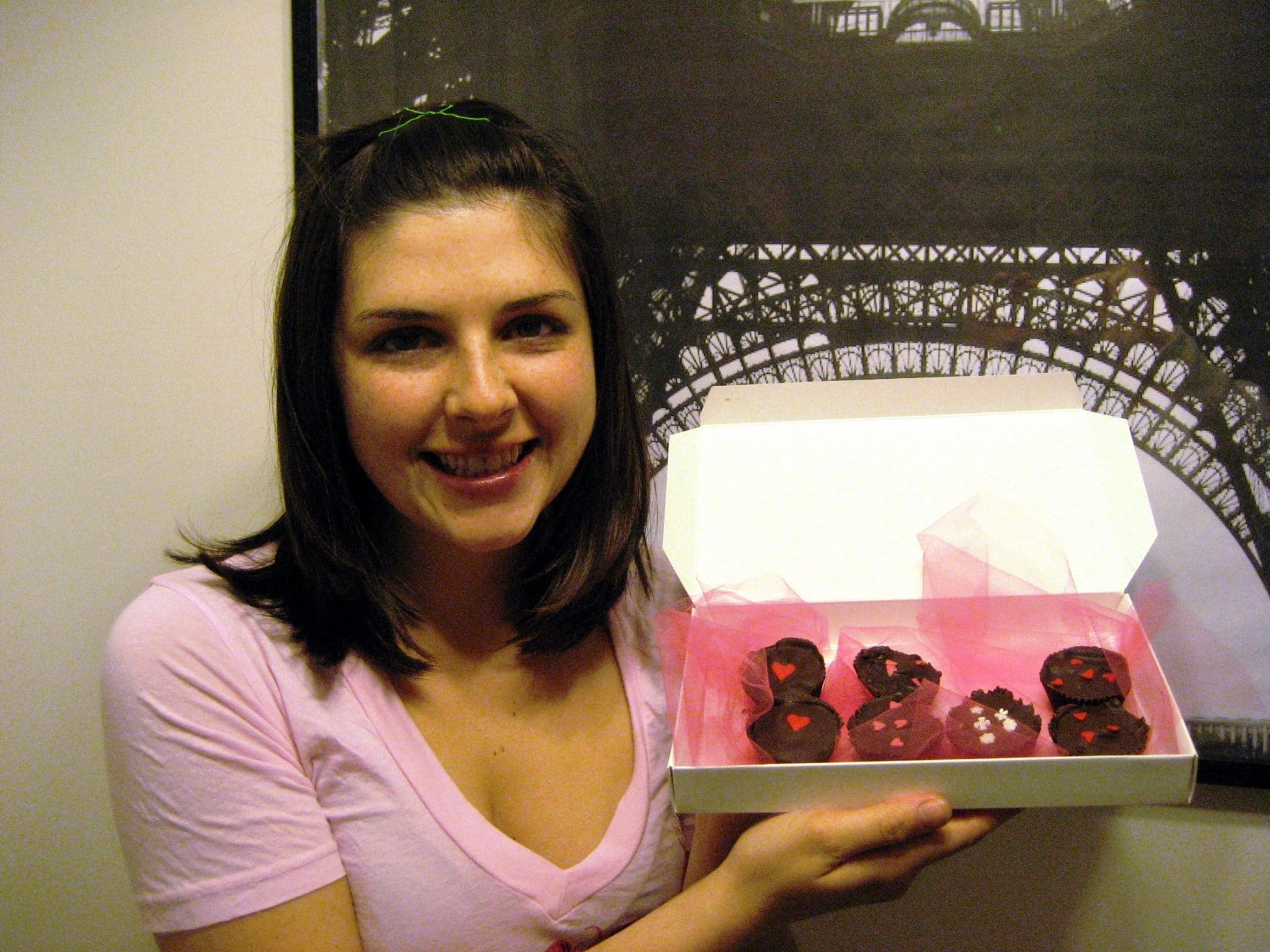 Christine holding vegan chocolate truffles