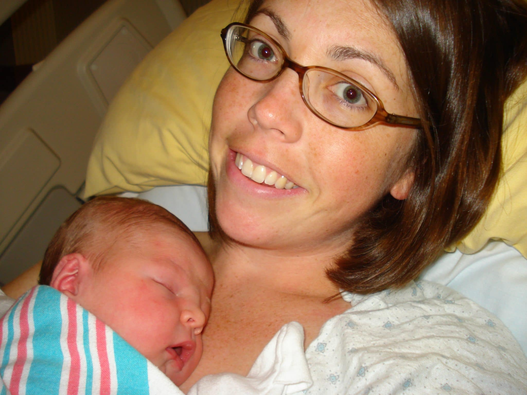 Erin and new baby Holden Frazier