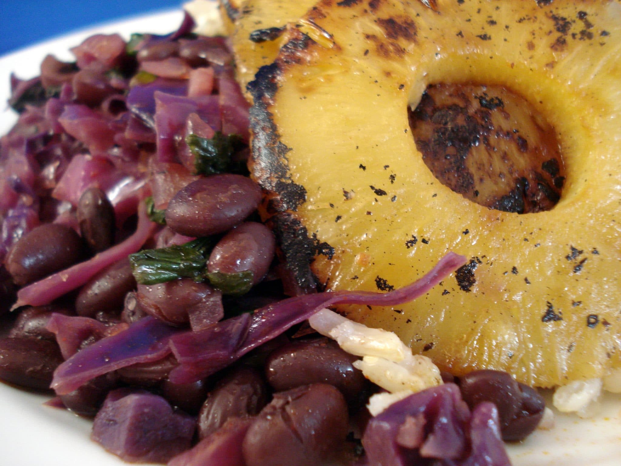 Grilled pineapple, black beans and rice