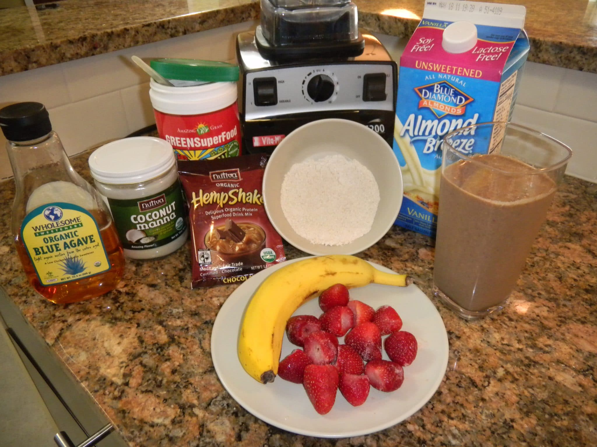 Ingredients for a Chocolate Strawberry Smoothie